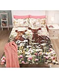 Stylish George Home FOREST FAWN DEER Duvet Set King Sized - 225 x 220 cm and two pillowcase 48 x 74 cm