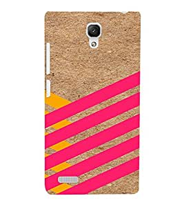 PrintVisa Yellow And Pink Stripes 3D Hard Polycarbonate Designer Back Case Cover for Xiaomi Redmi Note