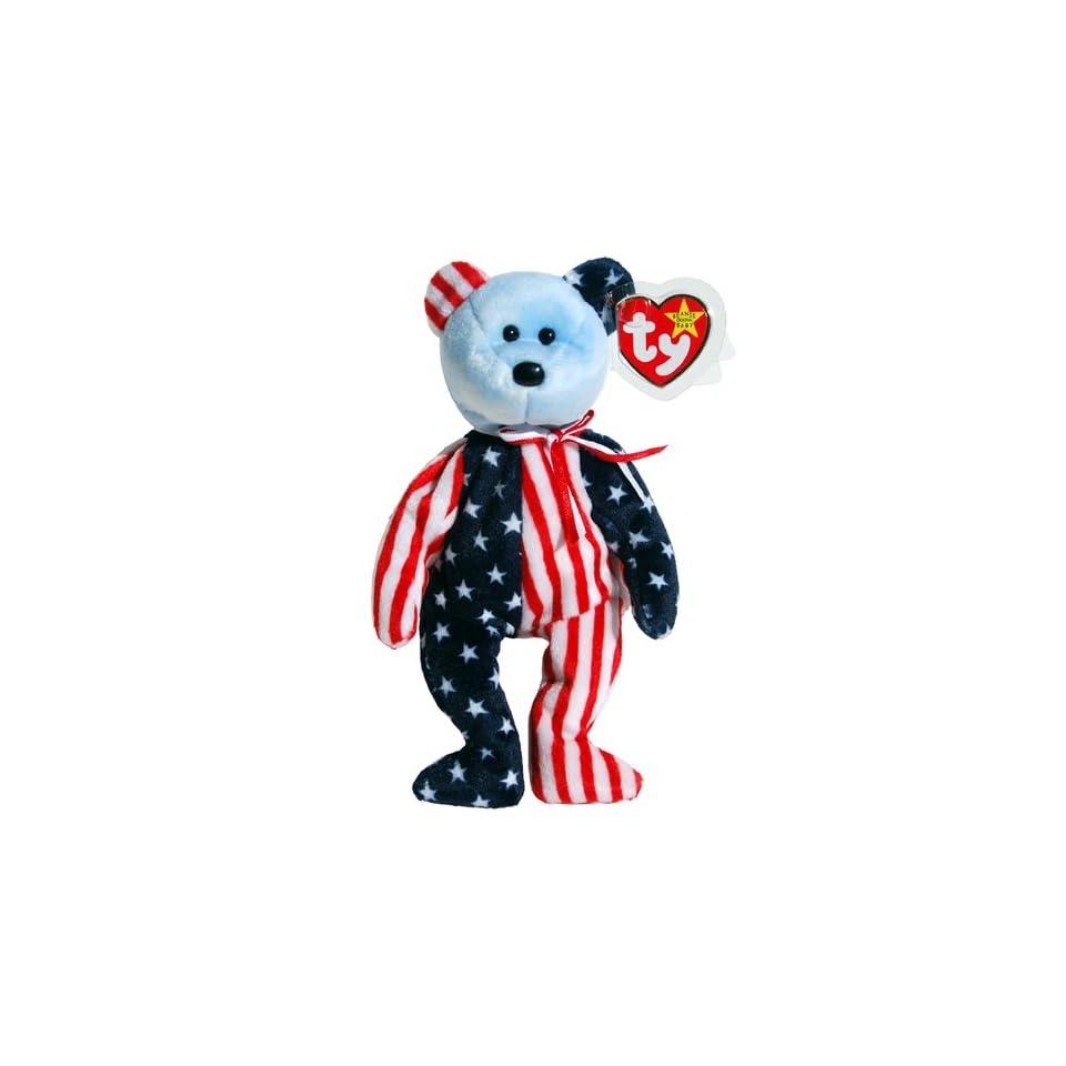 db4c8010a0a Ty Beanie Babies Spangle the Stars   Stripes Patriotic Teddy Bear Blue Face