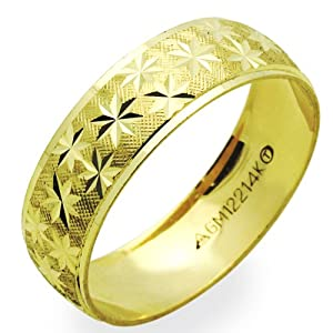 Little Treasures 14 ct Yellow Gold 6MM Wedding Band Diamond-Cut Ring