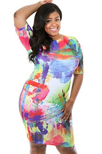 f05d82eb4a Cheap Giti Online Plus Size Women Popular Fashion Paint Addiction Bodycon  Dress 1X MULTI PRINT