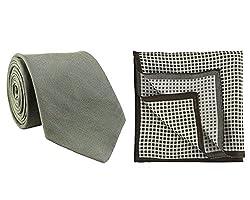 Chokore Dark Grey Silk Tie & Black and White Houndstooth Silk Pocket Square set