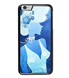 Fuson Premium 2D Back Case Cover Blue lady With Multi Background Degined For Apple iPhone 6 Plus