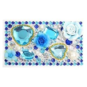 Amazon.com: Teléfono móvil del corazón azul de la flor 3D en forma