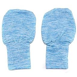 Extra Soft Folding Cuff No Scratch Baby Mittens - Blue 0-6m