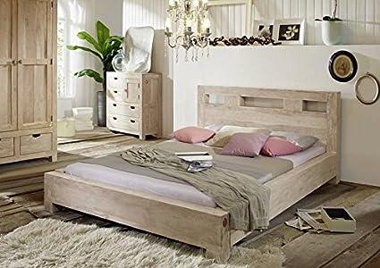 Akazie Massivmöbel Bett 180x200 massiv Holz Möbel Nature White #202