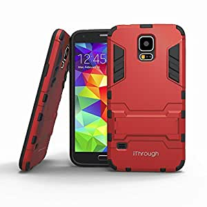 Galaxy S5 Case, iThroughTM Galaxy S5 Protection Case with Stand, Heavy Protective Cover Carrying Case for Galaxy S5 (Red)
