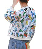 Youchan(ヨウチャン) トップス ブルゾン 個性的 総プリント 透け感きれいめ アウター 長袖 羽織るジャケット レディース(Dタイプ、XL)