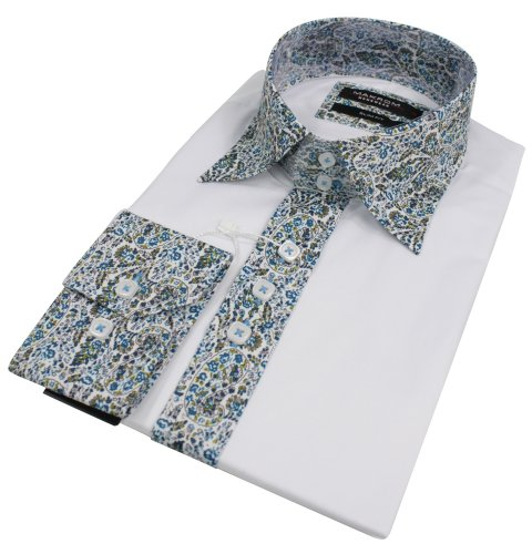 Mens Italian Design Paisley Collar White Shirt Slim Fit Smart or Casual 100% Cotton