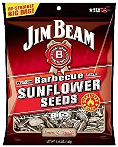 """Jim Beam Barbecue Sunflower Seeds """"Roasted by BIGS"""", 5.15-Ounce Bag (Pack of 12)"""