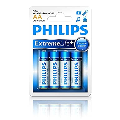 Philips Extreme Life AA Batteries - 1.5V Ultra Alkaline (4 Pack)