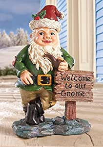Whimsical garden gnome welcome statue with for Whimsical garden statues