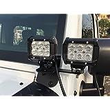 Opar Lower Windshield Light Mounts for Jeep Wrangler JK 2007-2016