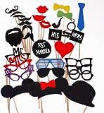 Musuntas 31Pcs. bricolaje gafas graciosas bigote labios rojos pajaritas sombreros fumando pipas en palitos boda cumpleaños fiesta Photo Booth Props
