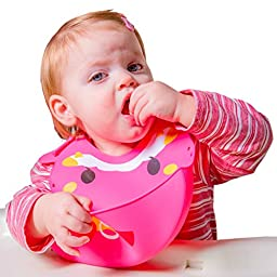 Premium Silicone Bib with Smart Food Catcher ♥ Waterproof and Easily Wipes Clean ♥ Magic 3-Way Fitting Suitable for Toddlers/Infants of All Ages ♥ FREE Gift Baby Led Weaning Ebook