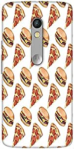 Snoogg Fast Food Pattern Hard Back Case Cover Shield For Motorola X Play