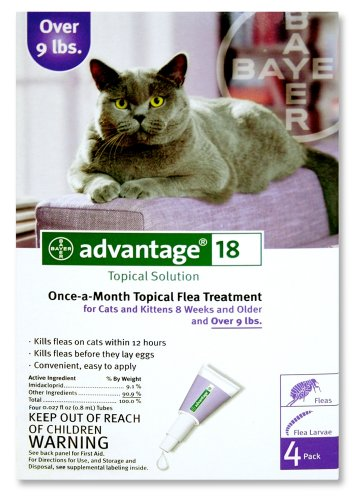 Advantage Once-A-Month Topical Flea Treatment for Cats Over 9 Lbs (4 Applications)