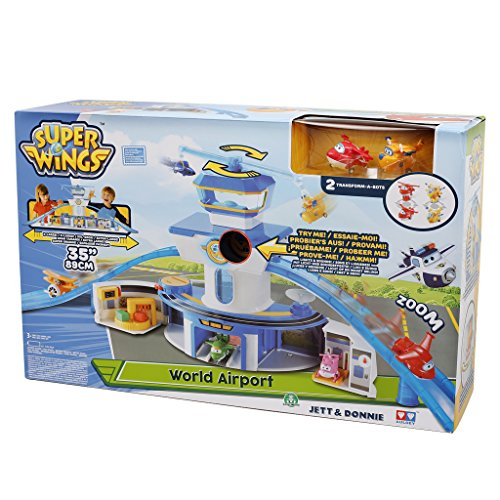 Super Wings UPW06000 - Set Gioco Torre di Controllo con Luci e Suoni con Personaggi Jett e Donnie