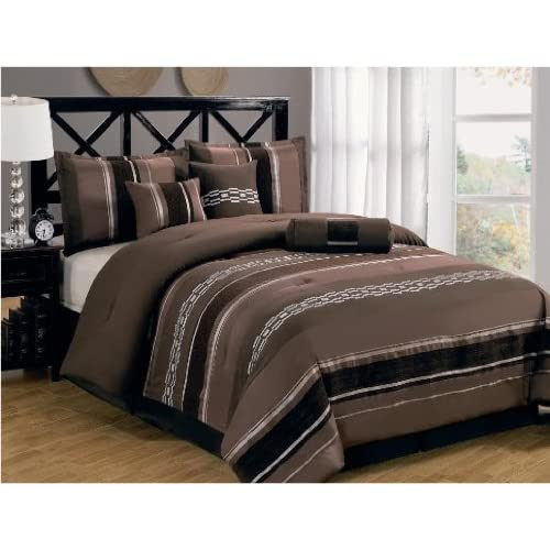 california king size luxury 7pc claudia coffee brown comforter set