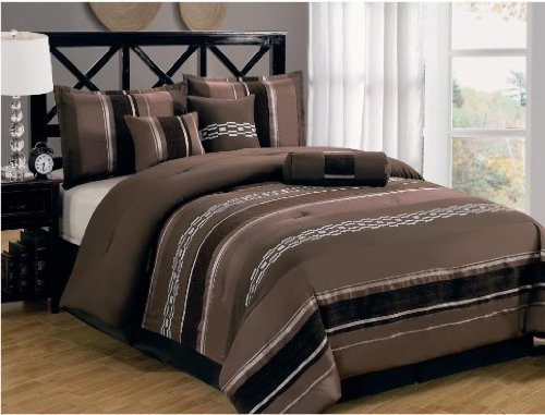 King Size Luxury 7Pc Claudia-Coffee Brown Comforter Set Includes: One Comforter, Two Pillow Shams, Three Cushions And One Bedskirt. By Sheetsnthings