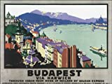 BUDAPEST HUNGARY DANUBE RIVER VINTAGE POSTER REPRO