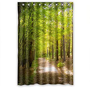 Green trees forest path waterproof shower - Forest green shower curtain ...