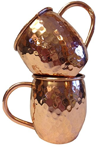 Set of 2, Authentic 16 Oz. Unlined Moscow Mule 100% Pure Solid Copper, Handcrafted Hammered Barrel Mugs, Gorgeous High Quality Barware, Lifetime Guarantee, Cocktail Recipes Included
