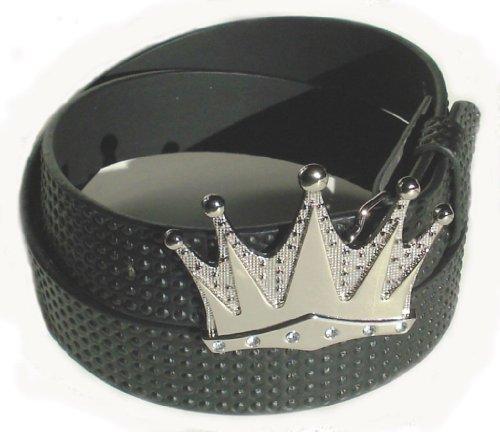 BeltsandStuds Man Women black Studded snap on belt with Silver Crown buckle L 36 Black