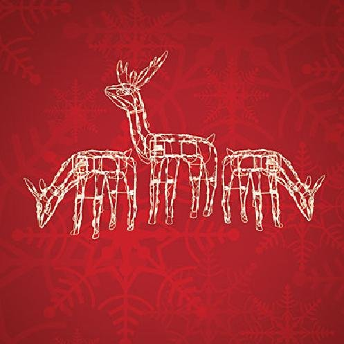 """3Pc Animated 40"""" And 24"""" Lighted Deer Christmas Yard Decoration"""