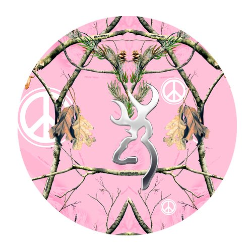 Anyhome_Pic (Tm) Real Camo Tree Pink Pece Round Mouse Pad front-61611