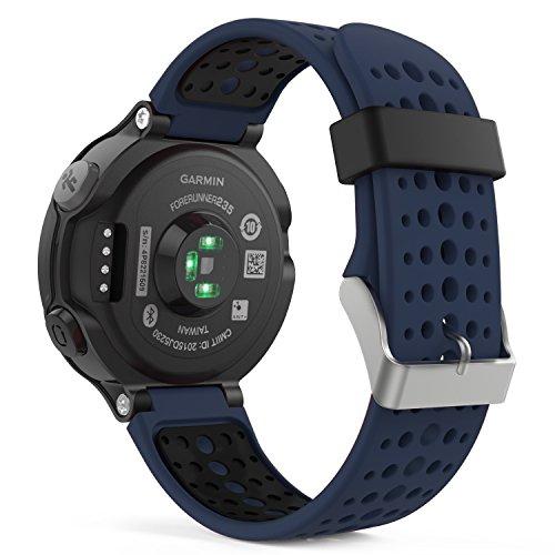 Garmin Forerunner 235 Accessori, MoKo Morbido Cinturino di ricambio in Silicone per Garmin Forerunner 220/230/235/620/630/735 Smart Watch, Blu Notte
