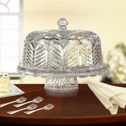 Fifth Avenue Crystal Portico Reversible Chip-n-dip or Domed Cake Plate
