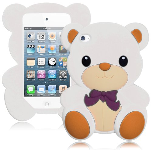 Bastex Cute 3D Silicone Teddy Bear Case For Apple Ipod Touch 4, 4Th Generation - White front-610902