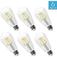 6-Pc. Edison Bulb BWL 6.5W 2700K Warm White Light 800 Lumens ST64 Antique Shape w/ E26 Base