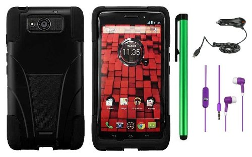 >>  MOTOROLA DROID MAXX XT1080M / Droid Ultra XT-1080 (Verizon) Premium T-Stand Protector Hard Cover Case + Car Charger + 3.5MM Stereo Earphones + 1 of New Metal Stylus Touch Screen Pen (Black / Black)