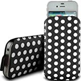 BLACK POLKA DOT PREMIUM PU LEATHER PULL FLIP TAB CASE COVER POUCH FOR HTC TATTOO BY N4U ACCESSORIES