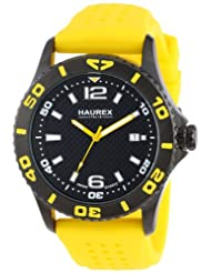 Sports & Outdoors - Haurex Italy Men's 3N500UNY Factor Black Ion Plated Coated Stainless Steel Rotating Bezel Date Watch $71.99