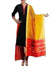 Unnati Silks Women Yellow-red Pure Handloom Maheshwari Jute Silk chunni