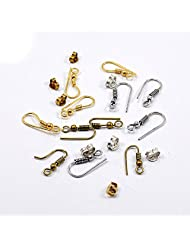 Silvesto India 12 Pcs Gold Silver & Brass Plated Hooks With 8 Pcs Silver & Gold Plated Push Jewelry US 19928