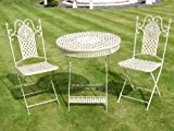 French Ornate Cream Wrought Iron Metal Garden Table and Chairs Bistro Furniture Set