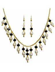 Nisa Pearls White And Black Danglers Necklace For Women