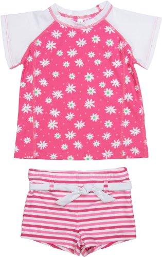 Girls 2 Piece Swim Suit - Hot Pink Daisy