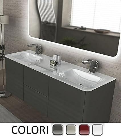 Mobile Arredo Bagno Liverpool sospeso 140 cm doppio lavabo in cristallo bianco con 4 colori Mobili