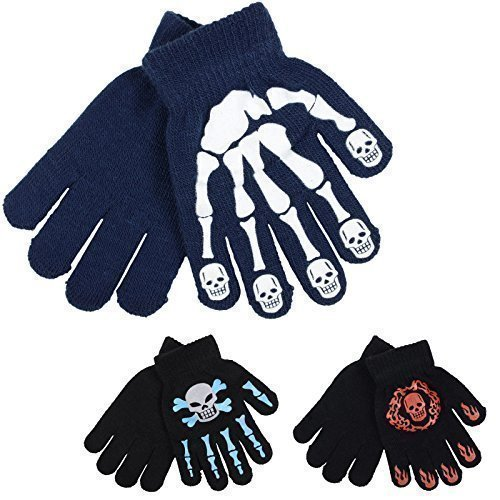 3-Pairs-Of-Boys-Kids-Assorted-Knitted-Skeleton-Skull-Grips-Winter-Magic-Gloves