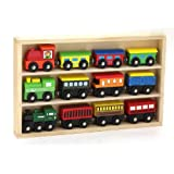 12 Pcs Wooden Engines & Train Cars Collection fits Thomas, Brio, Chuggington