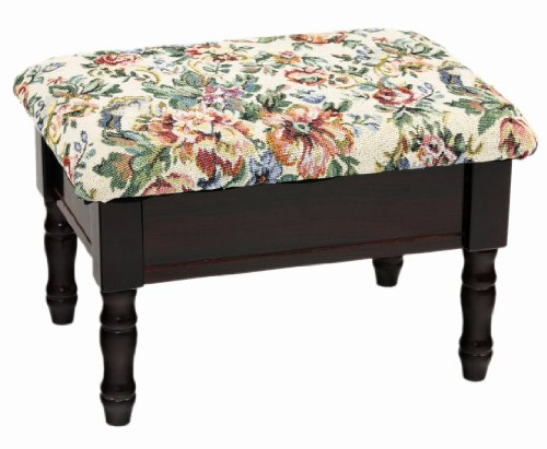 Frenchi Furniture 4 Upholstered wood FootStool in Cherry Finish