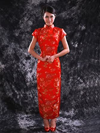 Artwedding Ankle Length Allover Flower Printed Brocade and Silk Chinese Dress/Qipao/Cheongsam/Wedding/Party/Evening Dress, Red, XL