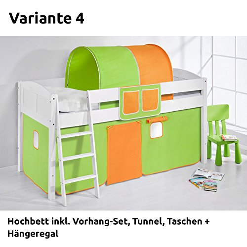 Hochbett Spielbett IDA Grün Orange, mit Vorhang, weiß, Variante 4