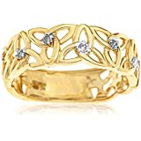 Kareco 9ct Yellow Gold 5 Point Diamond Set Linked Celtic Trinity Knot Ring