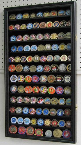 LARGE-108-Challenge-Coin-Poker-Chip-Display-Case-Holder-Rack-Stand-Glass-door-BLACK-Finish-COIN2-BL